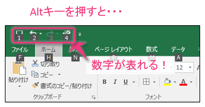 Altキーを押すと数字が表示される