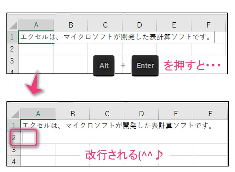 Alt+Enterで改行できる